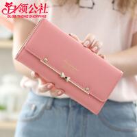 钱包 女士新款时尚简约学生搭扣零钱包韩版女式皮夹子手拿卡包.