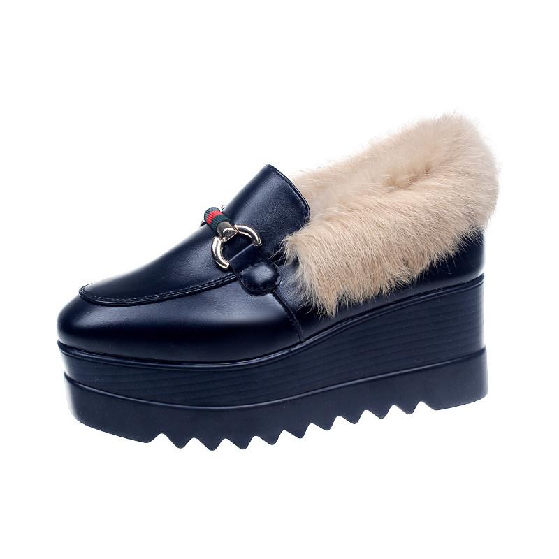 松糕鞋女厚底增高毛毛鞋女冬季加绒英伦女鞋子2018新款原宿豆豆鞋
