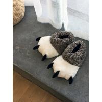 韩版情侣卡通熊爪子棉拖鞋男女包跟滑家居室内可爱毛毛棉拖鞋