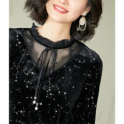 安妮纯黑色金丝绒加绒加厚打底衫女长袖2020秋冬季新款套头蕾丝保暖上衣 超好版型,柔软舒适 加绒保暖 一件抵三件!