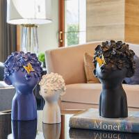 北欧摆件家居软装饰品酒柜现代简约客厅样板房创意小工艺品摆设 春暖花开三件套 蓝白黑 送2只蝴蝶
