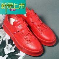 新品上市韩版潮流松糕鞋英伦厚底男增高鞋百搭小白鞋低帮透气一脚蹬休闲鞋
