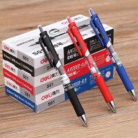 得力12支装按动中性笔黑色0.5mm黑水性笔办公文具碳素笔散装签字笔子弹头水笔水性笔学生办公用品批发红蓝笔