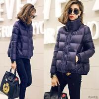 轻薄羽绒服女短款2018冬季新款韩版时尚宽松大码加厚面包服潮 深蓝色