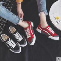 新款帆布鞋女韩版百搭潮鞋ulzzang学生休闲布鞋黑色板鞋