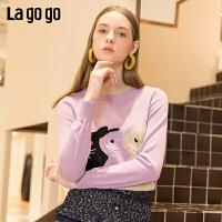 【清仓5折价131】Lagogo/拉谷谷2019春季新款浪漫紫短款宽松针织衫女IAMM411C22