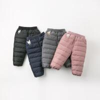 davebella戴维贝拉童装冬季新款男女童90绒保暖宝宝羽绒裤DB12416