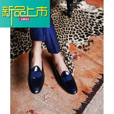 新品上市英伦风亮面牛皮蝴蝶结歌舞剧鞋宴会婚礼男士套脚潮正装皮鞋 深蓝  新品上市,1件9.5折,2件9折