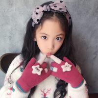 冬季儿童保暖手套五指冬天学生可爱卡通男女宝宝分指针织魔术手套