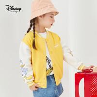 【3折�A估�r:62.2元】迪士尼春秋新款童�b加�q棒球外套女童�r尚潮流外套