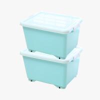 当当优品 加厚塑料滑轮整理箱 2个装 淡蓝色 约36L