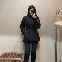 韩版黑色短款chic收腰小棉衣外套2018新款时尚女潮冬ins棉袄 黑色