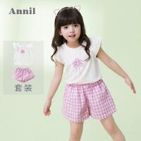 【300-200】安奈儿童装女童短袖T恤套装2019夏季新款儿童宝宝运动套装洋气