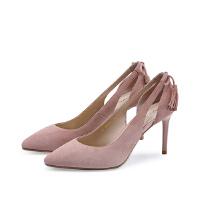 【 立减120】哈森 夏季羊皮细高跟鞋单鞋女 尖头镂空流苏凉鞋HM82409