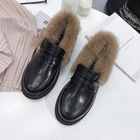 毛毛鞋女鞋秋冬季保暖加绒小皮鞋平底英伦瓢鞋韩版学生休闲豆豆鞋