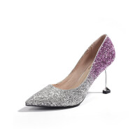 猫跟鞋女2019新款百搭5cm水晶鞋亮片高跟鞋细跟尖头公主网红单鞋