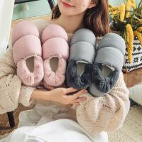 冬季棉鞋女情侣家居室内加厚羽绒布保暖舒适厚底男新款包跟棉拖鞋
