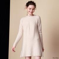 2018冬新款圆领加厚绞花中长款羊绒衫女纯羊绒套头a字打底连衣裙