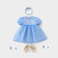 女宝宝裙子夏季婴儿公主裙夏装蓝色连衣裙