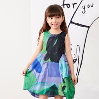 【1件秒杀价:160】马拉丁童装女童连衣裙2020夏装新款图案印花分割线设计背心裙
