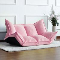 懒人沙发榻榻米折叠沙发双人日式多功能小户型沙发椅卧室懒人沙发pp 粉色(珊瑚绒)-发德邦