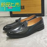 新品上市春季休闲皮鞋男韩版潮流青年一脚蹬懒人鞋英伦复古社会小伙豆豆鞋