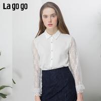 【清仓5折价161】Lagogo/拉谷谷2019年春季新款时尚女简约休闲长袖衬衫IACC452T21