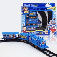 儿童益智火车头拼装电动轨道火车小火车儿童玩具轨道赛车叮叮车男 蓝色 叮当猫图 标配