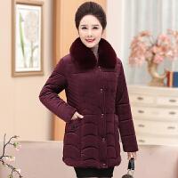 妈妈冬装外套金丝绒保暖棉衣女40岁50中老年人女装加厚棉袄中长款