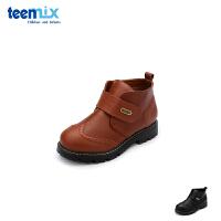 【2件3折后到手价:149.4元】天美意teenmix童鞋18新款儿童皮鞋经典布洛克短靴男童时尚休闲靴子(5-10岁可