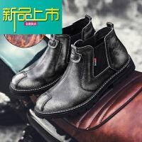 新品上市男士靴子真皮高帮鞋男潮流复古马丁靴一脚蹬靴英伦低帮短靴 灰色 加棉款