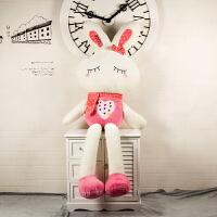 可爱毛绒玩具兔子公仔小白兔布娃娃流氓兔玩偶送儿童女孩生日礼物 粉色眯眼LOVE兔 1.7米【送同款大小】