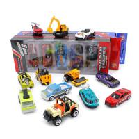 5个装仿真合金车模型 儿童玩具儿童玩具小汽车工程车跑车消防车特警车军事战车赛车
