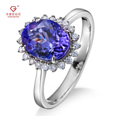 先恩尼钻戒 彩宝 白18K金 坦桑石戒指 女戒 钻戒 宝石戒指 HFGCTS007 宝石私人定制女款戒指满减加赠品,多买多送