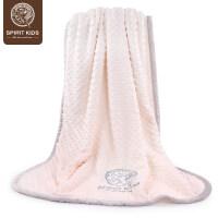 婴儿毛毯四季通用被子宝宝双层盖毯云毯新生儿童豆豆毯 米黄色 90*110大尺寸 加厚保暖—