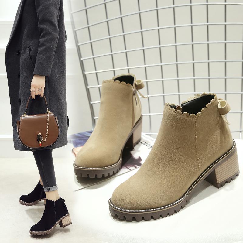 马丁靴大码女靴41-43新款秋冬女鞋中跟小码33粗跟加绒靴子女百搭