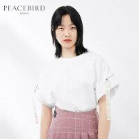 太平鸟女装圆领纯色短袖T恤2019春夏新款织带时尚酷上衣女