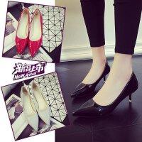 正装高跟鞋女3cm中跟5公分浅口单鞋工作少女学生单鞋大码职业皮鞋