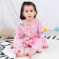 儿童棉绸套装家居服男童睡衣薄款宝宝1夏3长袖2岁绵绸女童空调服