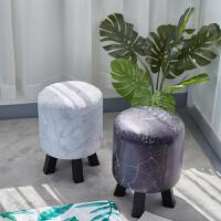 北欧风家居客厅装饰品摆件大理石纹皮革凳子创意房间卧室茶几摆设