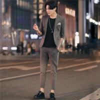【秋冬新品】高端专柜品牌秋季男士修身小西装外套青年英伦休闲发型师韩版条纹西服套装