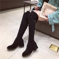 过膝长靴女新款时尚圆头粗跟中跟弹力绒面长靴显瘦性感过膝靴长靴