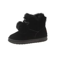 雪地靴女短靴加绒2018冬季新款女靴韩版时尚百搭棉鞋毛球短筒靴