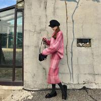 卡贝琳女秋冬季2019新款针织裙法式毛衣加裙子两件套连衣裙女过膝长裙气质套装裙女