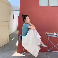 卡贝琳女2019新款夏季针织短袖露背心机套装女夏洋气女神小个子网纱半身裙子两件套显高