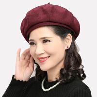 素色羊毛呢贝雷帽子女士休闲八角帽春秋天中老年人套头帽多码可选
