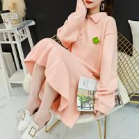 很仙的毛衣裙女中长款宽松秋冬季韩版polo领网红针织连衣裙