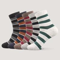 男士秋冬条纹中筒运动袜中长腰时尚ins潮加厚温暖棉袜休闲袜