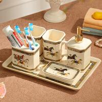 美式欧式卫浴五件套浴室用品刷牙杯漱口杯洗漱套装卫生间陶瓷牙具