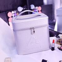 新款大容量可定制可爱便捷化妆包旅行手提大号化妆箱双层收纳盒 银色 银色